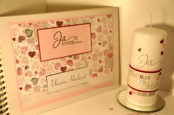 Kerze+Album rosa